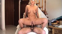 Blond MILF slobbers on his cock so it slides in her ass easier