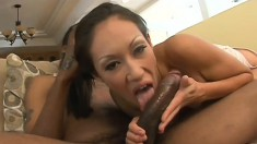 This tiny Asian didn't know if she could take a black cock as big as that
