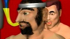 Wacky cartoon fetish men get really freaky in a crazy video clip