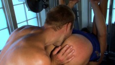 Two delightful gay friends enjoying passionate anal action in the gym